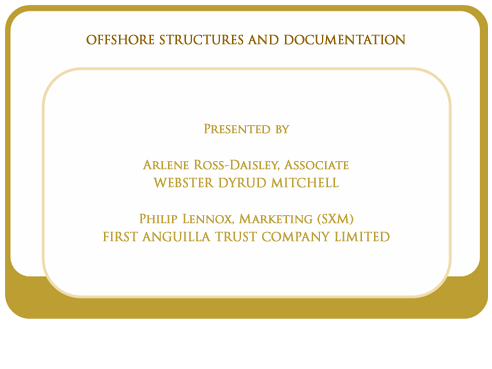 Offshore structures and documentation
