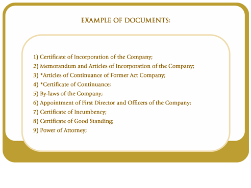 Examples of documents