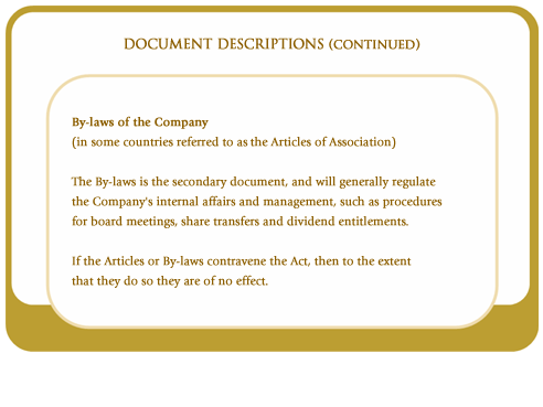 By-laws of the company