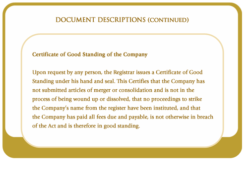 Certificate of Good Standing of the Company