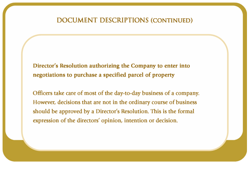 Director's resolution authorizing the company to enter into negotiations to purchase a specified parcel of property