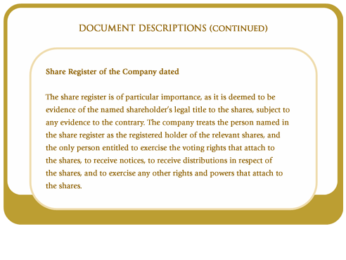 Share register of the company dated