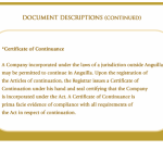 Certificate of Continuance