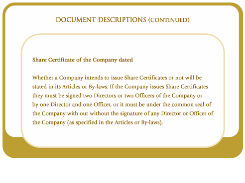 Share certificate of the company dated