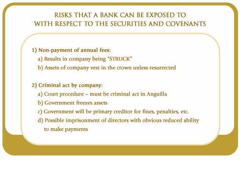 Risks that a bank can be exposed to with respect to securities and covenants